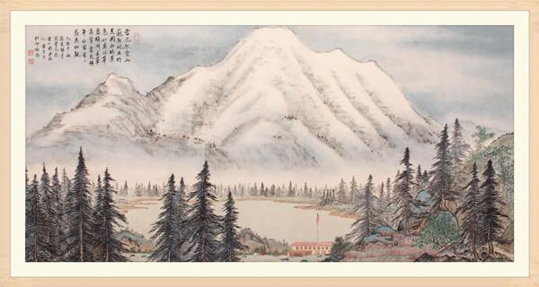 8美国雷尼尔雪山 68cm×133cm   2009年.JPG